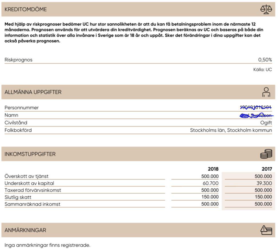 Kreditförfrågan hos UC
